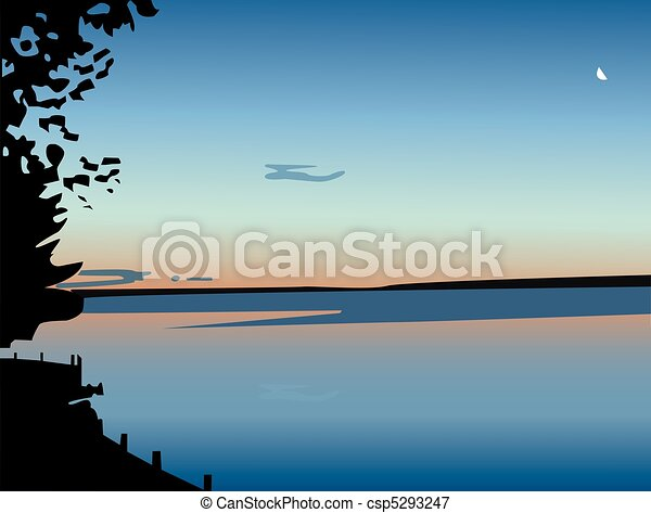 Sunset over a lake, in vector - csp5293247