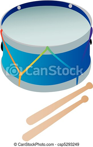 A toy drum with drumsticks - csp5293249