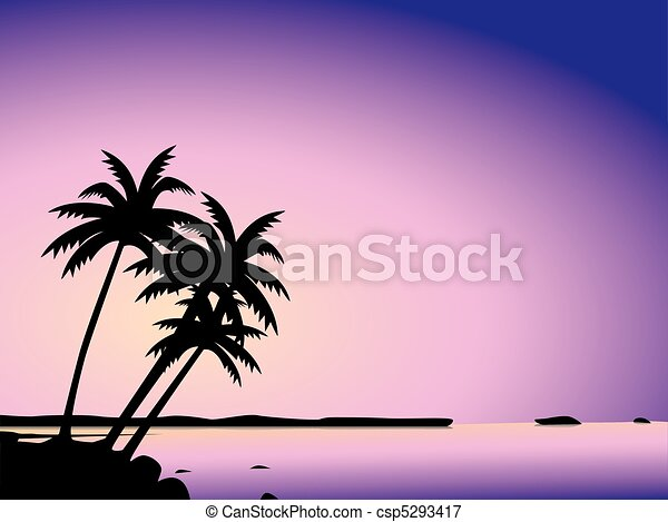 Tropical palm trees and sea - csp5293417