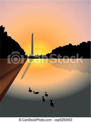 Washington monument sunset - csp5293453