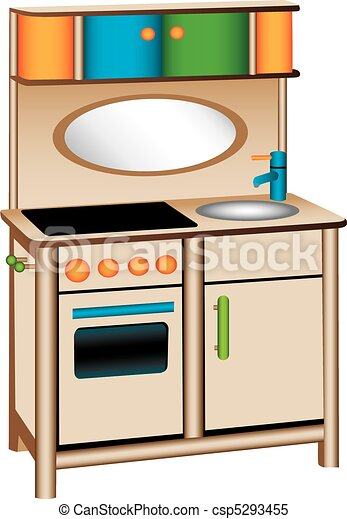 clipart vector of toy kitchen - three dimensional illustration of