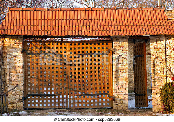 wooden gate in vintage style - csp5293669