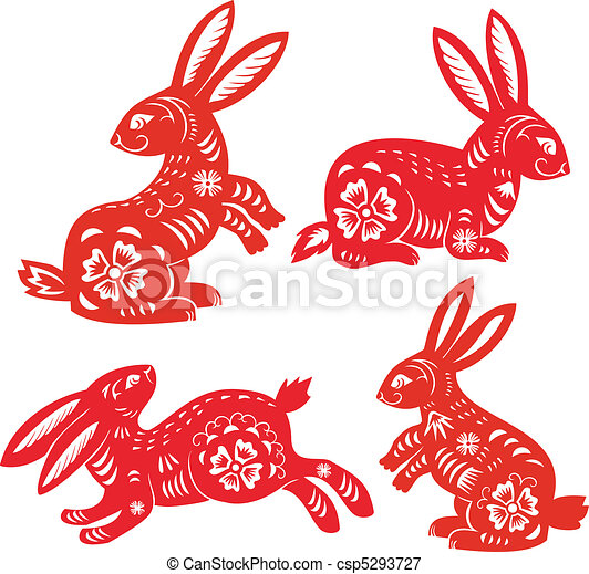 Chinese Zodiac of Rabbit Year. - csp5293727