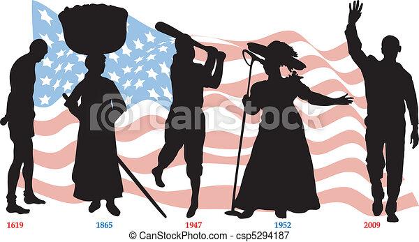 Black History Timeline Flag - csp5294187
