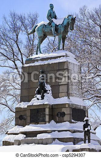General William Tecumseh Sherman, famous civil war hero, Statue Pennsylvania Avenue After the Snowstorm With Snowy Trees Washington DC - csp5294307