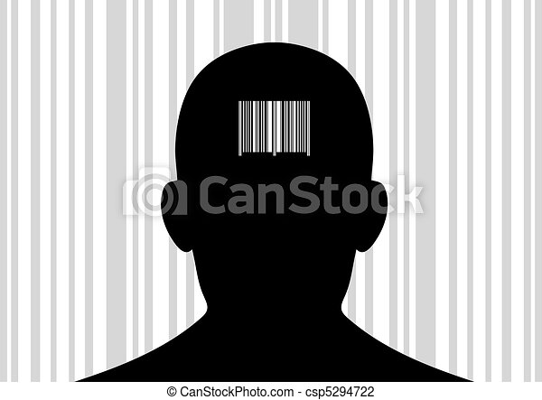Back Head Drawing Head With Barcode on Its Back