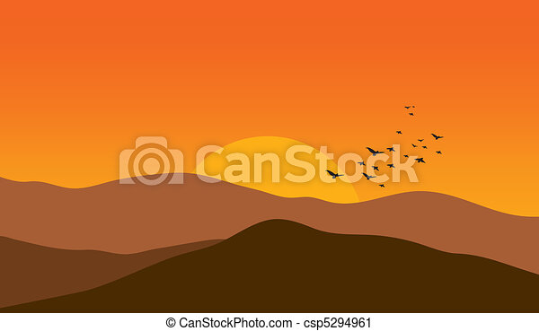 Mountains at sunset - csp5294961