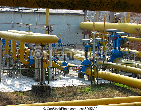 Natural gas distribution station at an power plant - csp5295632
