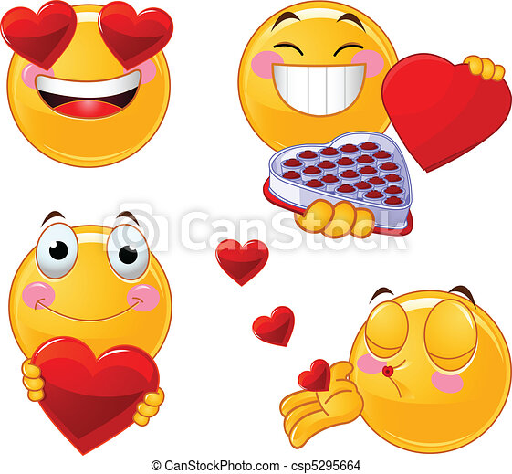 Set of Valentines smileys emoticon - csp5295664