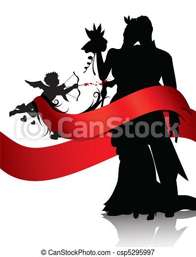 Romantic couple with cupid  - csp5295997
