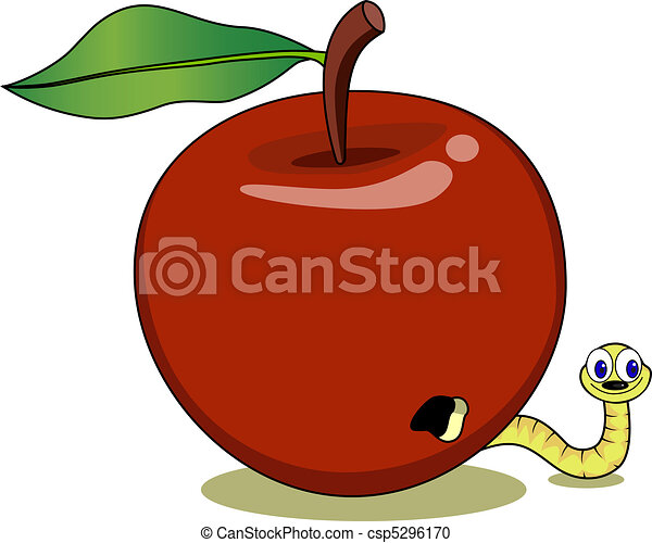 Red apple and cute maggot - csp5296170