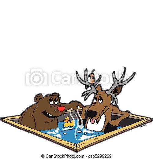 Hot Tub Drawings Deer Sitting in a Hot Tub