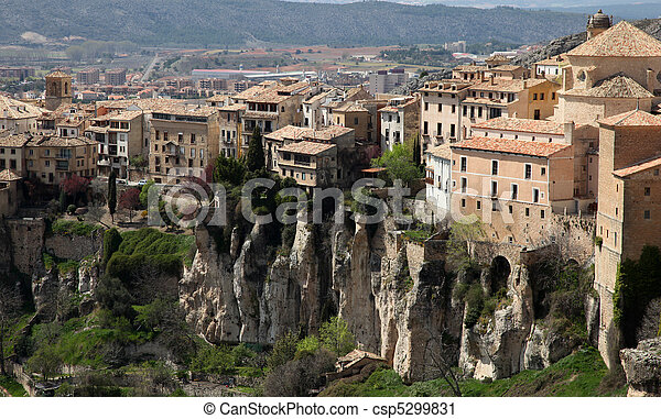 Historic Walled Town of Cuenca - Spain. This view shows the Hanging Houses perched on the cliffside. - csp5299831