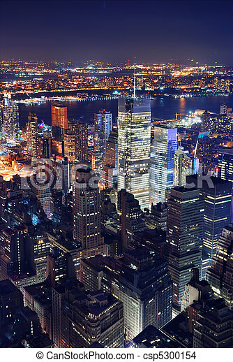 New York City aerial view at night - csp5300154