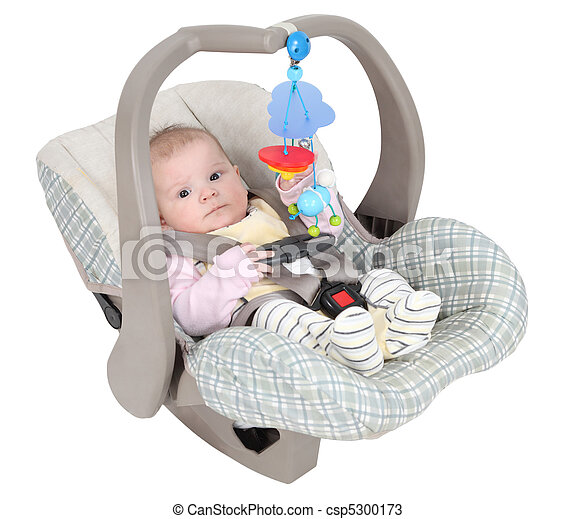 Baby in child car seat isolated over white background - csp5300173