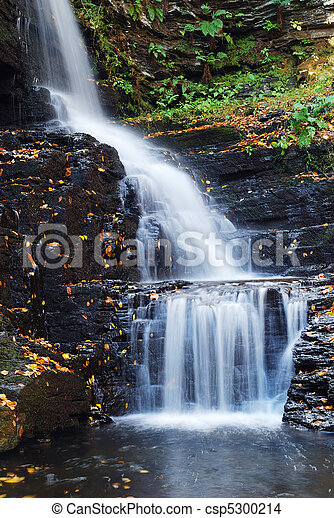 Autumn Waterfall in mountain - csp5300214