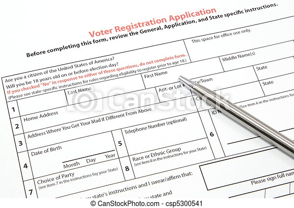 Voter Registration Application with Silver Pen - csp5300541