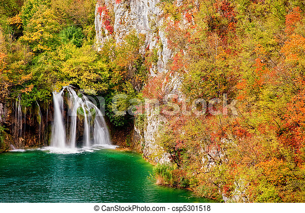 Waterfall in Autumn Forest - csp5301518