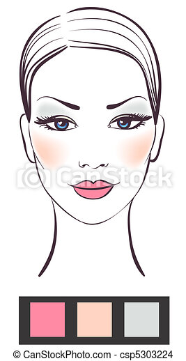 Beauty women face with makeup vector illustration  - csp5303224