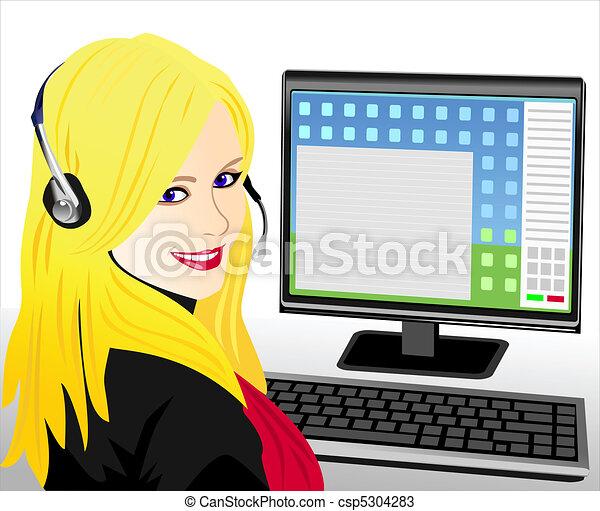 vector young beautiful girl telephone operator - csp5304283