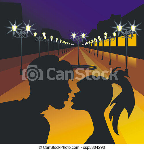 vector evening meeting of lovers - csp5304298