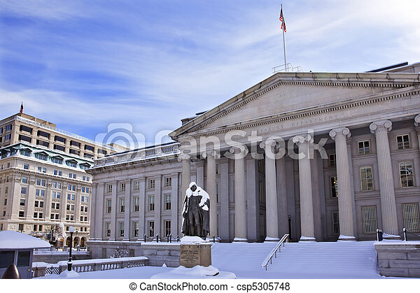 US Treasury Albert Gallatin Statue After Snowstorm Winter Washington DC - csp5305748