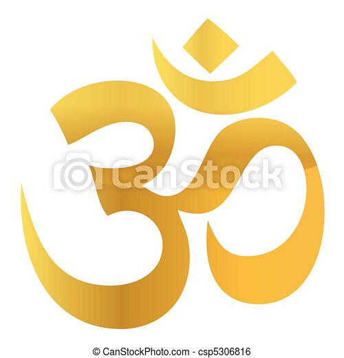 Gold Om Aum Symbol - csp5306816