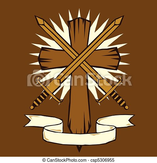 Woodcut cross with swords - csp5306955