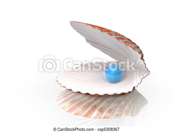 Blue pearl in a shell - csp5308367
