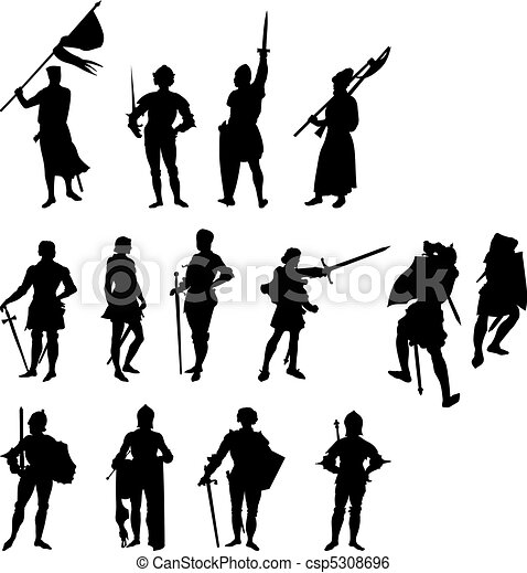Fourteen Knight Silhouettes - csp5308696