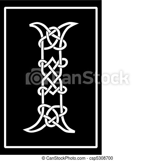 Celtic Knot-work Capital Letter I - csp5308700