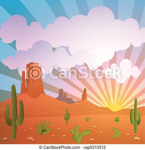 Desert Landscape - csp5310312 Western Desert Clipart