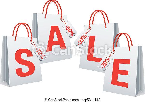 sale, white shopping bags, vector - csp5311142