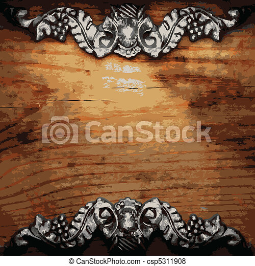 iron ornament on wood  - csp5311908