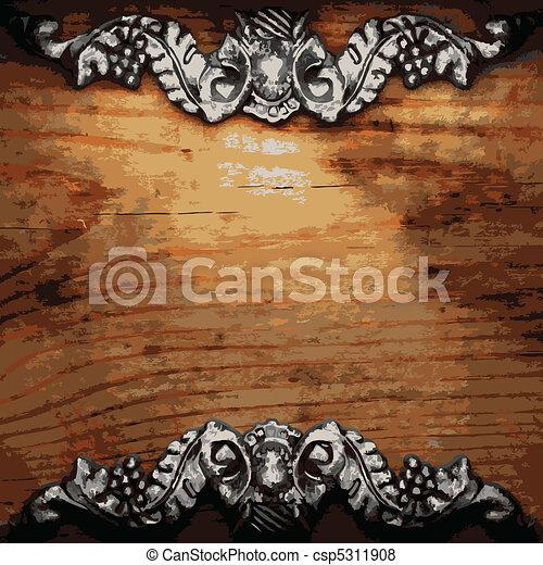 iron ornament on wood  - csp5311908