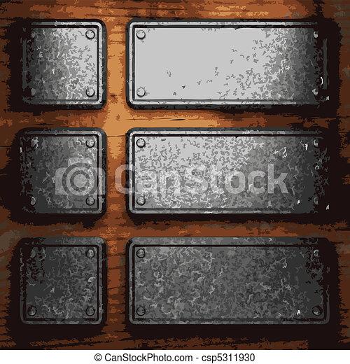 iron plate on wood  - csp5311930