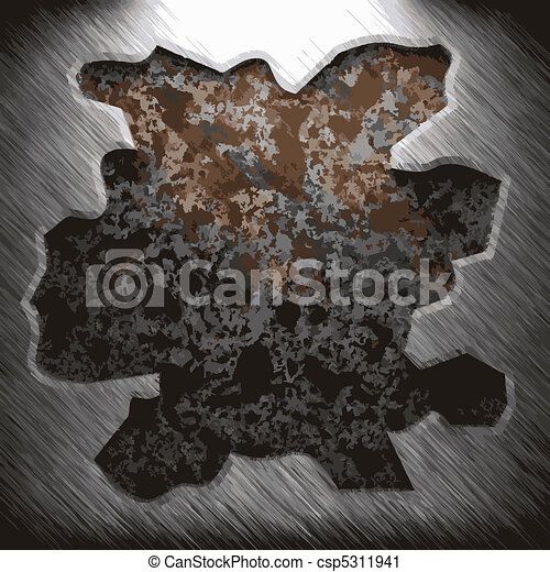 aluminum and rusty metal plate - csp5311941