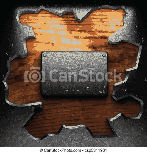 iron plate on wood  - csp5311981