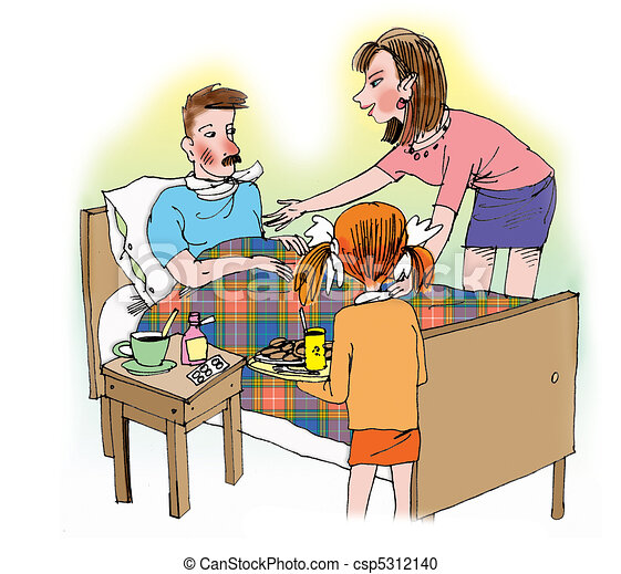 Mother and daughter taking care of ill father - csp5312140