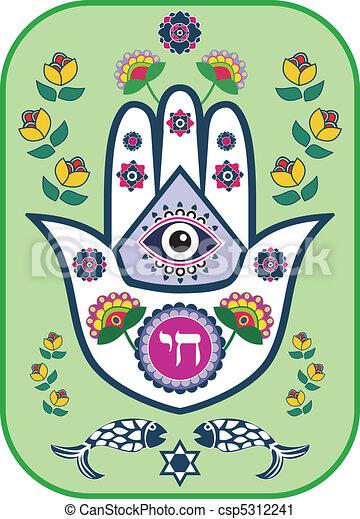 Jewish hamsa hand amulet, vector - csp5312241