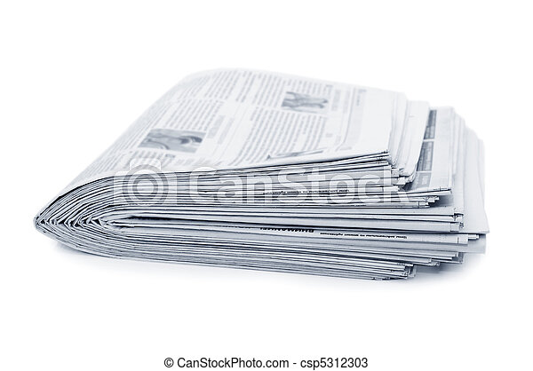 Various newspapers over white background - csp5312303