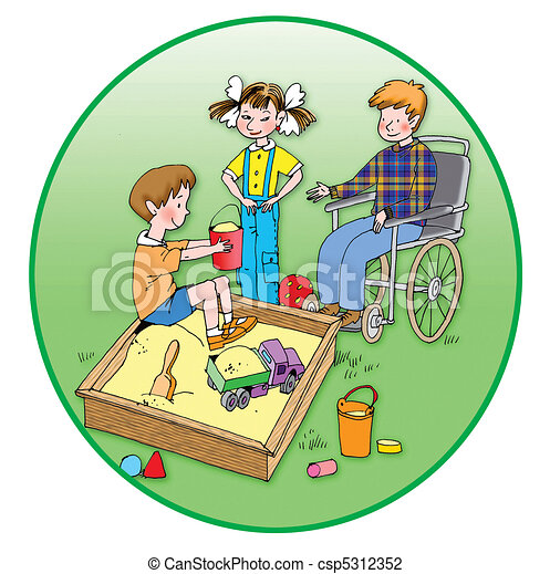 Healthy children playing with a handicapped child - csp5312352
