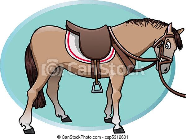 Clip art vecteur de mignon cheval cartoon style illustration de a mignon csp5312601 - Clipart cheval ...