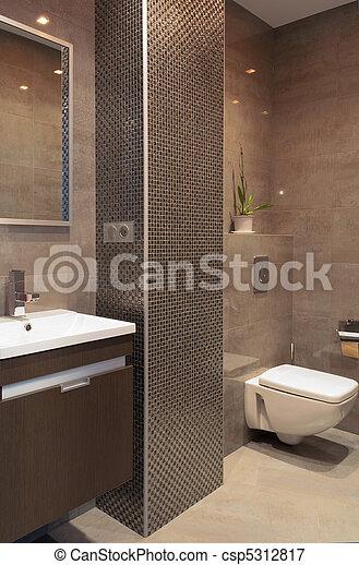 Plaatje van badkamer moderne badkamer met een moza ek zuil csp5312817 zoek naar stock - Badkamer met mozaiek ...