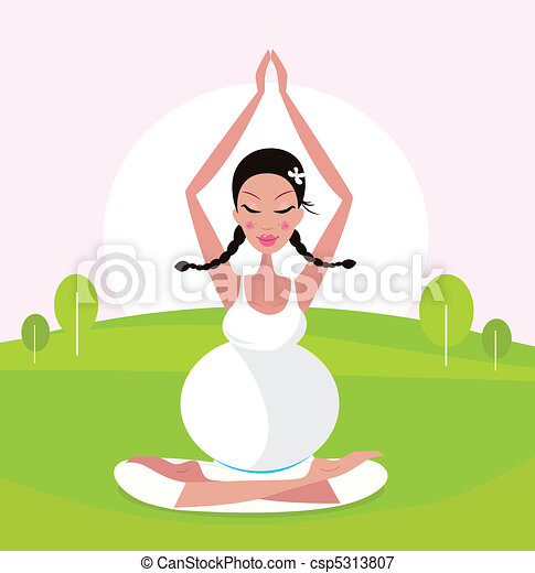 Pregnant woman doing yoga in park - csp5313807