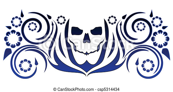 Skull with flourishes - csp5314434