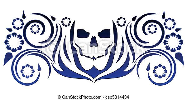 Skull with flourishes - csp5314434