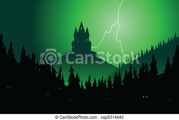 Spooky forest and castle - csp5314443