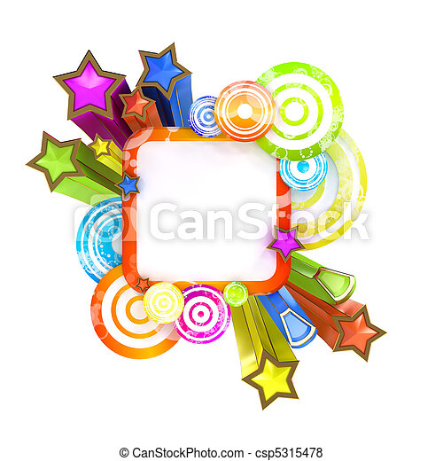 Disco style banner isolated on white background with copy space - csp5315478