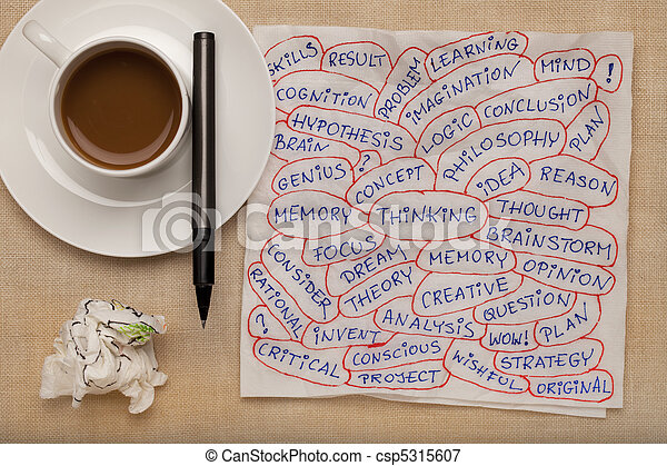 thinking word collage on napkin - csp5315607
